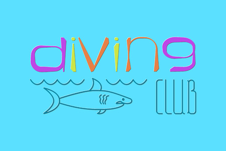 logo of Diving Club with shark, vector