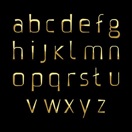 alphabetic: gold alphabetic fonts, lowercase vector