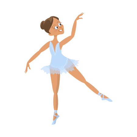 Cute little ballerina. Character of Ballet girl. Isolated on white background. Vector illustration Illustration