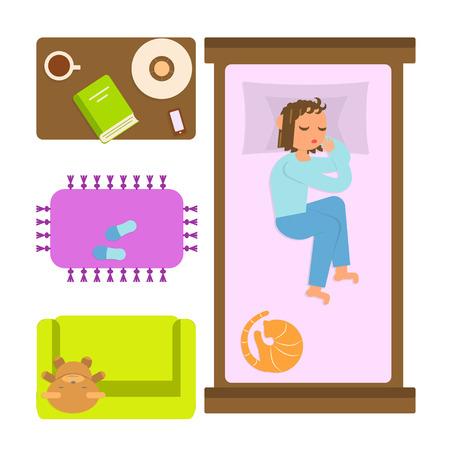 Chambre à coucher avec des frais généraux de meubles et femme endormie. Haut de page plan vue Appartement. Isolé sur fond blanc. le style plat illustration vectorielle pour infographique Banque d'images - 69010697