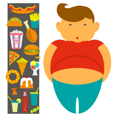 obesidad infantil: Obesity infographic template - junk fast food, childhood overweight elements, fat kids. Diet and lifestyle data visualization concept poster. Vector illustration