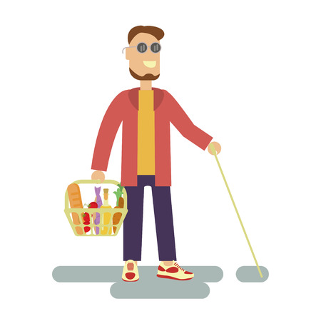 Blind person with walking stick is a Customer with shopping basket in supermarket. Isolated Vector illustration of Disabled man Illustration