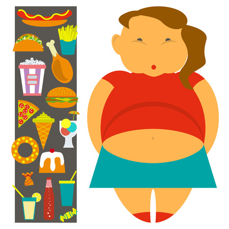 childhood obesity: Obesity infographic template - junk fast food, childhood overweight elements, fat kids. Diet and lifestyle data visualization concept poster. Vector illustration
