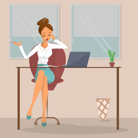 desk clerk: Business woman or a clerk working at workplace. Young woman talks on phone at office desk. Design concept of the secretary or administrator. Isolated Vector illustration