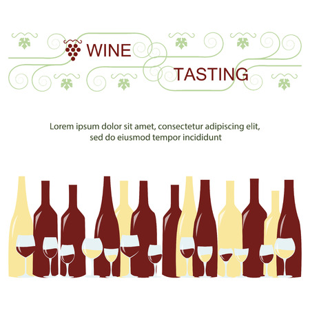 unopened: Invitation template for wine testing, event or party. Suitable for tasting events or wine presentation. Simple line design background. Vector eps10 Illustration