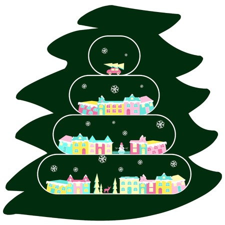 Winter village, rural landscape on christmas tree branch. Xmas icon set in flat design. Congratulation card. Vector illustration