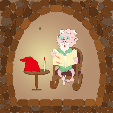 hoary: cartoon reading a book. vector