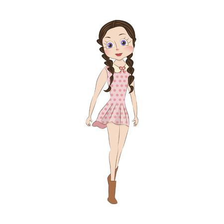 cute girl: Cute little girl. Illustration