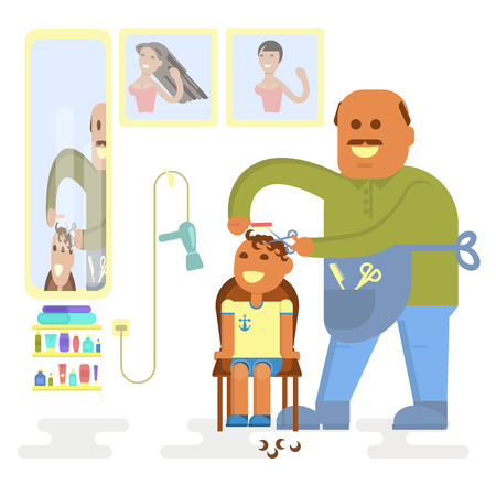 haircutting: Professional bald-headed hairdresser Illustration