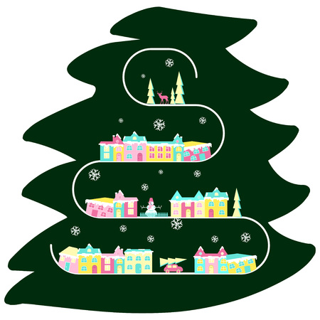 comfortable: Rural landscape on christmas tree