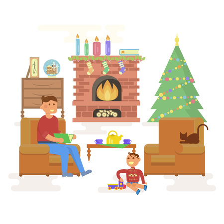 interior room: House Christmas room interior