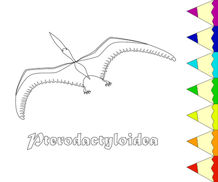 colouration: Dinosaur, Pterodactyloidea, coloring page. Illustration