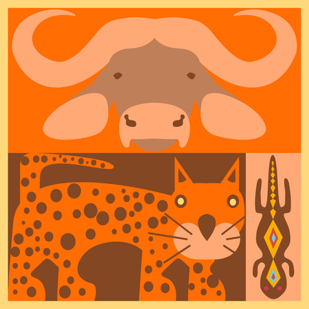 leopard gecko: Vector set of African animals