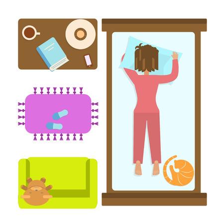 Chambre à coucher avec une femme endormie. Banque d'images - 69931922