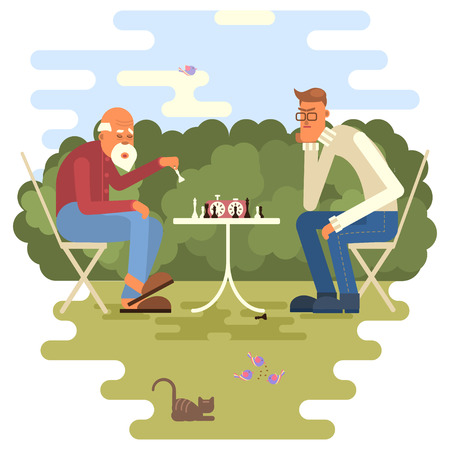 retired: Retired men playing chess in a park. Vector illustration eps 10