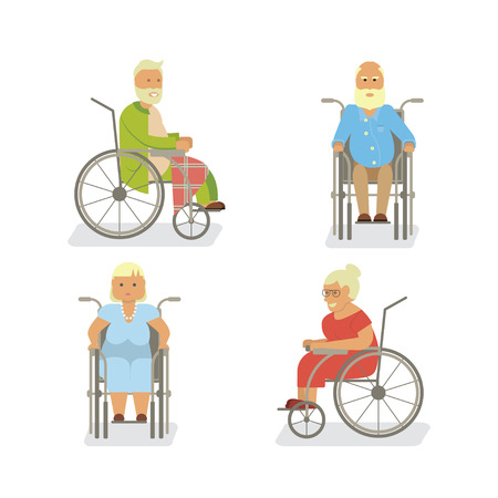invalid: Retired elderly seniors Illustration