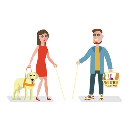 paso de peatones: ciego y de la mujer Vectores