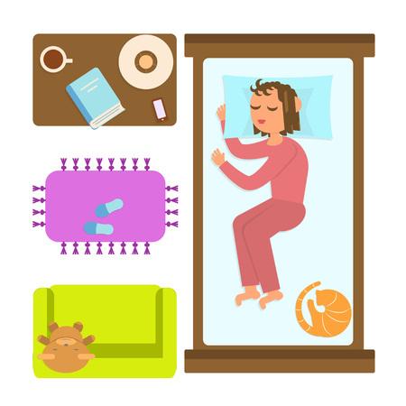 Chambre à coucher avec une femme endormie. Banque d'images - 71579413