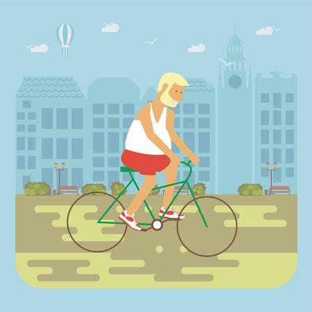 stretch: Senior man cycling Illustration
