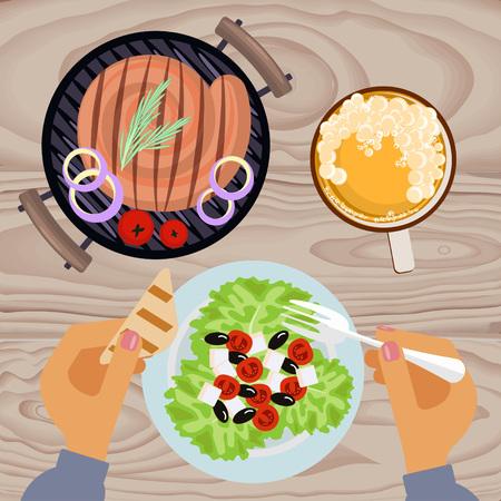 german sausage: Grilled sausages and beer Illustration