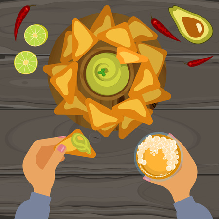 chips and salsa: guacamole and nachos Illustration