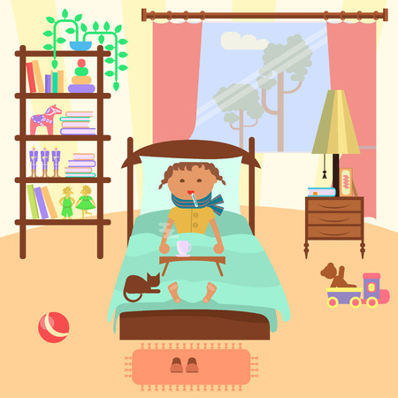 Sick child girl Illustration