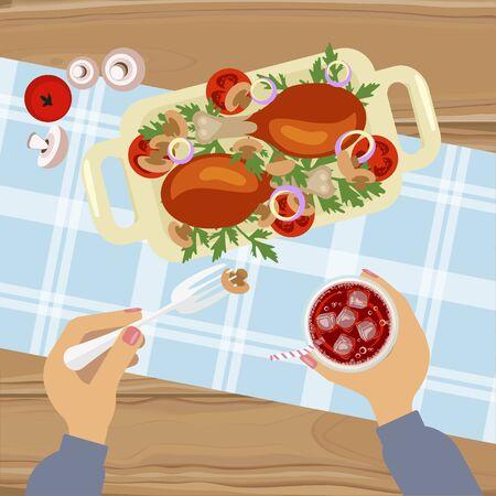 mediterranean diet: Grilled chicken and glass of cola Illustration