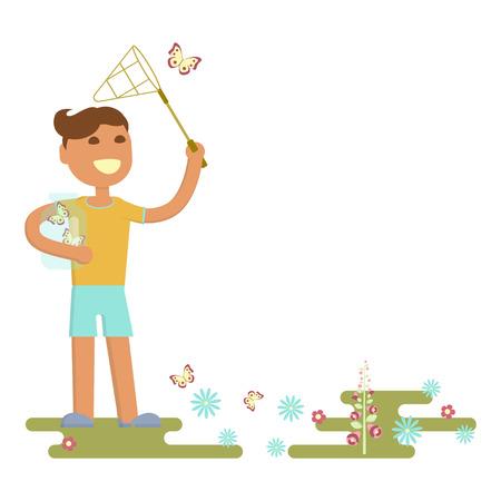 boy is catching butterflies