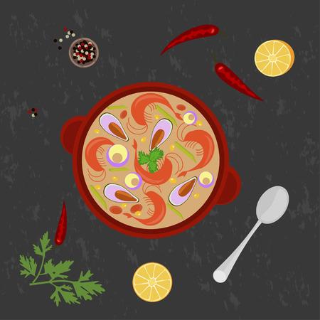 chowder: clam chowder on Grey background