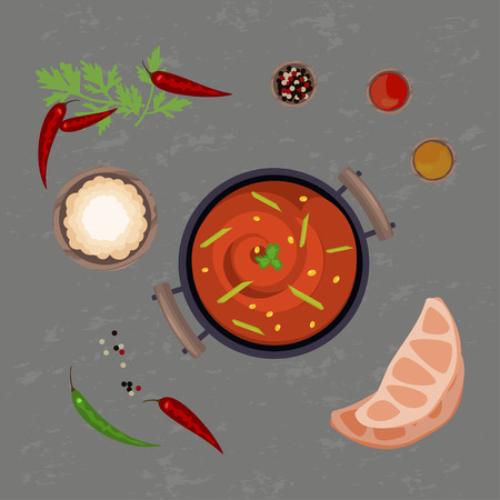 Red pungent curry Illustration
