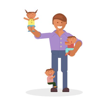 piggyback: dad and children