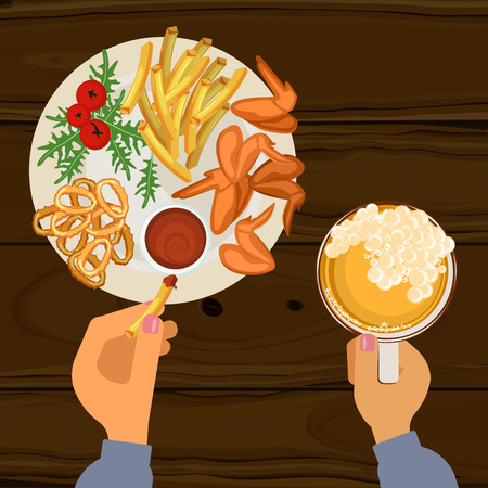 dipping: Fast food with beer Illustration