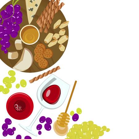 ブドウ、蜂蜜、ワインとチーズ