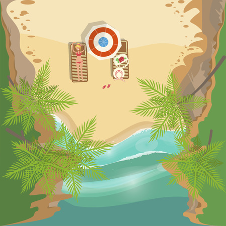Summer beach landscape Illustration