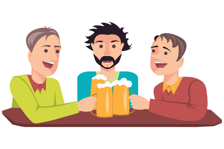 friends with beer Illustration
