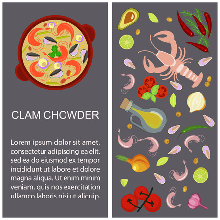 Clam chowder with ingredients