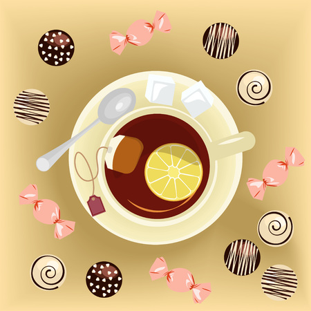main dishes: Cup of tea and sweets