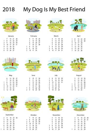 dog: Calendar 2018 with dog