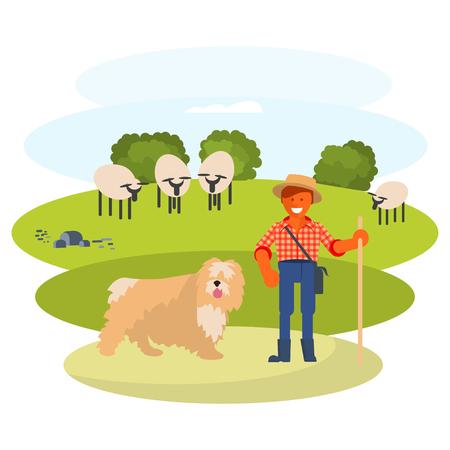 man cattleman with Shepherd dog Иллюстрация