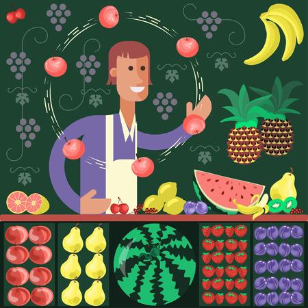 Vendedor de fruta de carácter de dibujos animados