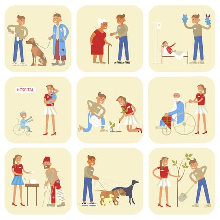 Volunteers characters in flat design Illustration