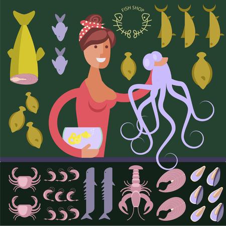 Cartoon character seafood seller Illustration