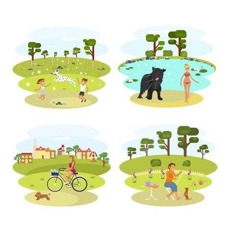 labrador: Dog and its owner Illustration