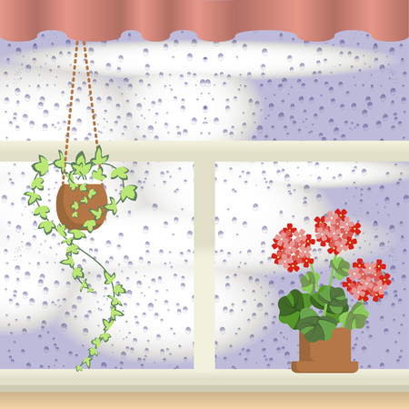 fall leaves: Window with raindrops Illustration