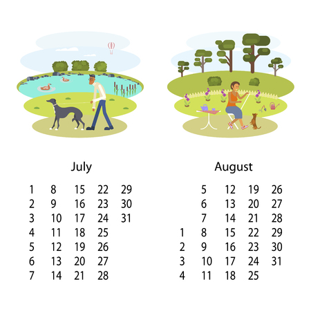 Calendar 2018 for July and August with cute set of dog and owner illustration in cartoon style. Isolated vector illustration eps 10.