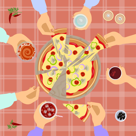 junk: People Hands Taking Slices Of Pizza. Food top view on table background. Vector illustration eps 10