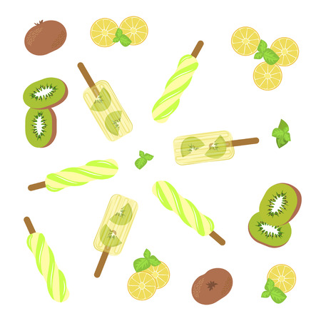 popsicles: Homemade popsicles with kiwi, mint and lemon on white background.
