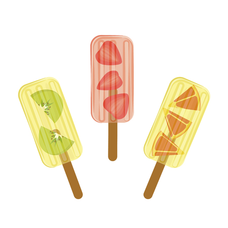 Set of Popsicles with bits of fruits in transparent design Illustration