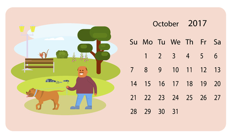 Calendar 2018 for October vector illustration
