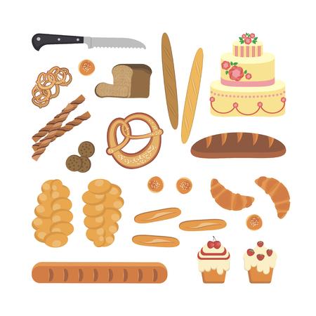 Bakery foodstuffs set vector illustration.
